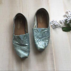 TOMS Sparkly Light Blue Glitter Sequins Shoes W9